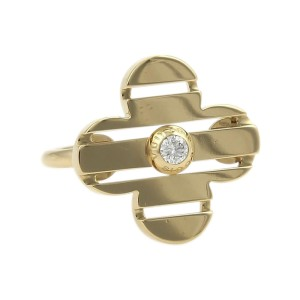 Louis Vuitton Petite 18K Yellow Gold with 0.10ct Diamond Floral Ring Size 4.75