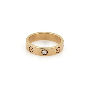 Cartier Mini Love 18K Rose Gold with 0.03ct Diamond Band Ring Size 4