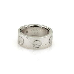 Cartier Love Secret Astro 18K White Gold Band Ring Size 4