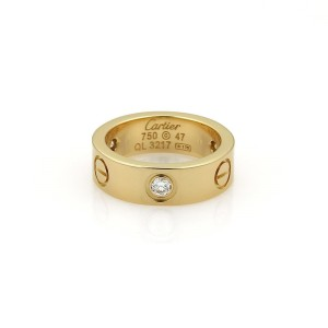 Cartier Love 18K Yellow Gold with 0.15ct Diamond Band Ring Size 4