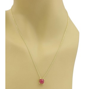 Ippolita Rock Candy 18K Yellow Gold with Ruby Mini Square Pendant Necklace