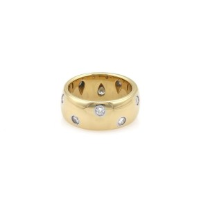 Tiffany & Co. Platinum and 18K Yellow Gold with 0.40ct Diamond Band Ring Size 4