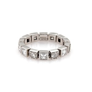 Tiffany & Co. 18K White Gold with 1.75ct. Diamond Flex Band Ring Size 8