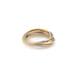 Cartier Trinity 18K Yellow White and Rose Gold Rolling Band Ring Size 5