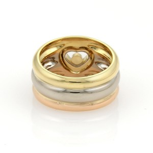Chopard Happy Diamond 18K Rose, White and Yellow Gold with 0.05ctw Diamond Heart Band Ring Size 6.5