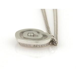 Chopard Happy Spirit Diamond 18K White Gold with 0.10ct Diamonds Heart Double Pendant Chain Necklace