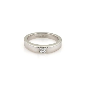 Cartier 18K White Gold & Diamond Solitaire Band Ring Size 5.25