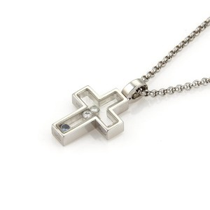 Chopard Happy Diamond 18K White Gold with White Sapphire and 0.10ctw Diamonds Cross Pendant Necklace
