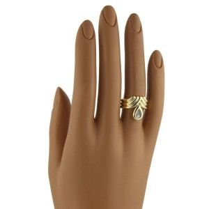 Chopard Happy Diamond 18K Yellow Gold with 0.04ct Diamond Fancy Ribbed Style Ring Size 5.25