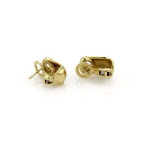 Chopard Happy Diamond 18K Yellow Gold with Diamonds Hearts Curved Clip On Earrings