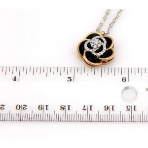 Roberto Coin 18K White and Rose Gold with 0.29ct. Diamond & Enamel Rose Flower Pendant Necklace