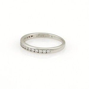 Tiffany & Co. Half Circle 0.18ct. Diamonds Platinum Band Ring Size 4.75
