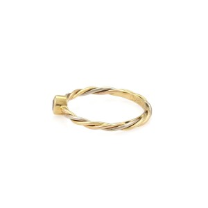 Cartier Sapphire 18k Tricolor Gold Twisted Wire Band Ring Size 4.75
