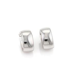 Tiffany & Co. 18K White Gold Curved Huggie Earrings