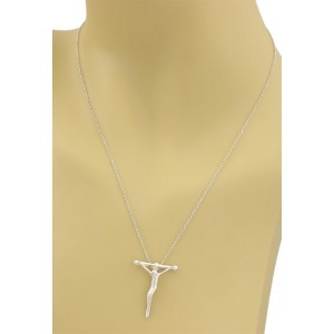 Tiffany & Co. 925 Sterling Silver Cross Pendant & Chain Necklace