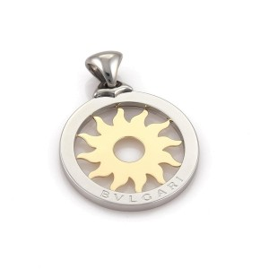 Bulgari Tondo 18K Yellow Gold and Stainless Steel Sun Burst Large Pendant