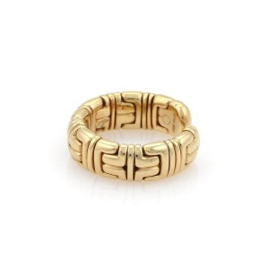 Bulgari Parentesi 18K Yellow Gold Wide Dome Cuff Band Ring