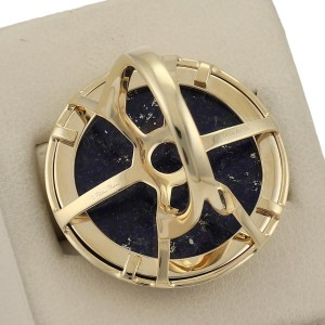 Tiffany & Co. Picasso Zellige 18K Yellow Gold with Lapis Floral Ring Size 5.5