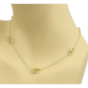 Tiffany & Co. 1837 18K Yellow Gold Double Ring Station Necklace