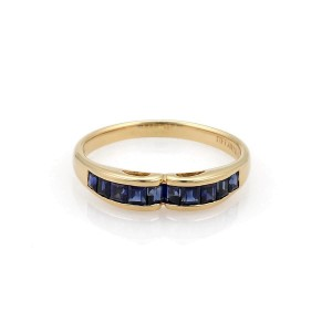 Tiffany & Co. 18K Yellow Gold with Blue Sapphire Stack Band Ring Size 7.75