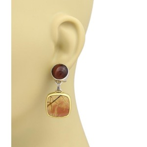 Gurhan One 24K Yellow Gold, Sterling Silver Tiger's Eye, Jasper Earrings