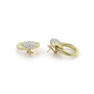 David Yurman 18k Yellow Gold 4.00 ctw. Diamonds Cable Circle Earrings