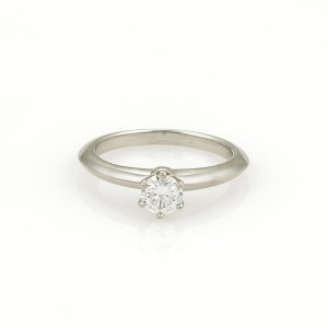 Tiffany & Co. Platinum Diamond Ring Size 4.5