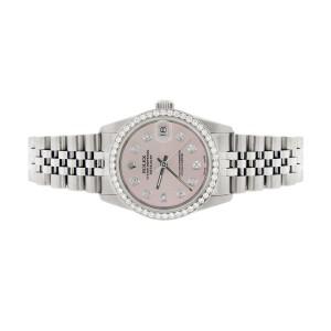 Rolex Datejust Midsize 31MM Automatic Stainless Steel Women's Watch w/Pastel Pink Dial & Diamond Bezel