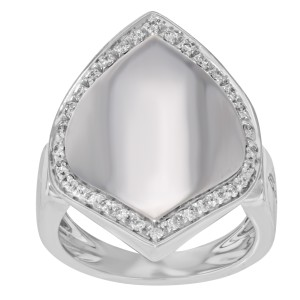 Salvini 18K White Gold with 0.60ctw Diamonds Cocktail Signet Ring Size 8