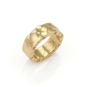 Chanel Matelasse Quilted 18k Yellow Gold 7mm Wide Band Ring