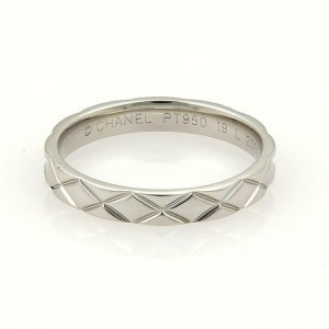 Chanel Iconic Quilted Platinum 3.5mm Wide Band Ring Size EU 62-US 9.5