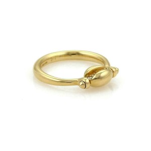 Bulgari Bulgari Diamond 18k Yellow Gold Flip Style Coffee Bean Ring Size 5