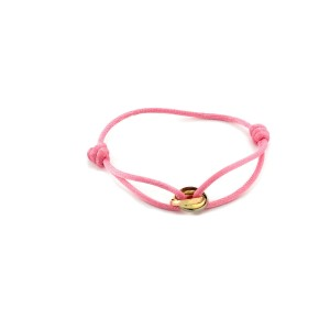Cartier Trinity 18k Tricolor Gold Triple Ring Charm Pink Cord Bracelet