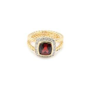 David Yurman Petite Albion Garnet Diamond 18k Yellow Gold Ring Size 4