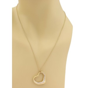 Tiffany & Co. Peretti Diamond 18k Yellow Gold Large Open Heart Pendant