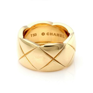 Chanel Coco Crush 18k Yellow Gold 11mm Wide Dome Band Ring Size 53 US 6.5