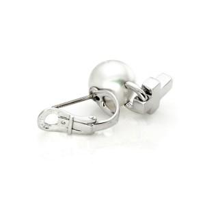 Mikimoto Diamond 11mm Akoya Pearl 18k White Gold Dangle Cross Earrings