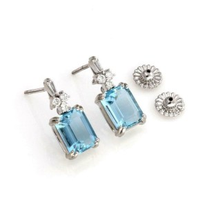 18k White Gold 7.25ct Aquamarine & Diamond Dangle Earrings