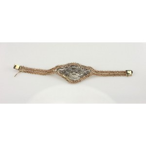 Vintage Platinum & 14K Yellow Gold Diamond Filigree Bracelet