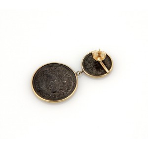 Estate 14K Yellow Gold Coin Style Dangle Earrings
