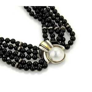 Cartier Vintage Mabe Pearl 18k Gold Sterling 5 Strand Onyx Bead Choker Necklace