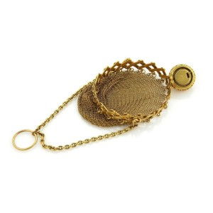 Victorian 21k Yellow Gold Cork Screw Top Mesh Purse Bag Circa 1800s