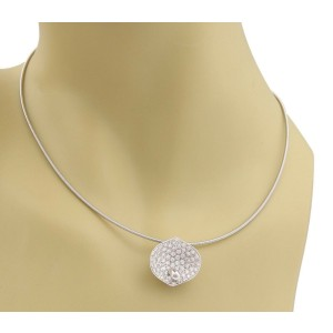 Koesia 1.23ct Diamond 18k White Gold Shell Pendant Cable Necklace