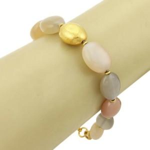 Gurhan Nugget Moonstone 24k Gold Oval Beaded Bracelet