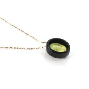 Roberto Coin Ipanema Lemon Quartz Oval Black Wood 18k Rose Gold Pendant Chain