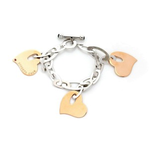 Roberto Coin 18k Rose & White Gold Triple Hearts Charm Oval Link Toggle Bracelet