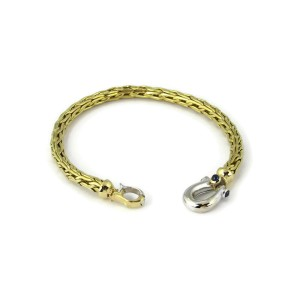 Roberto Coin Sapphire 18k Two Tone Gold 5mm Thick Woven Bracelet