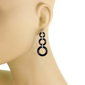Tiffany & Co. Diamond Onyx Triple Graduated Hoop Platinum Drop Dangle Earrings
