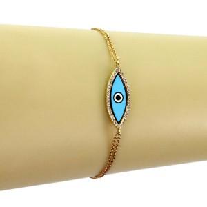 Aaron Basha Diamond Enamel Good Luck Eye Charm 18k Gold Double Chain Bracelet