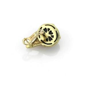 Judith Ripka Diamond Black Onyx 18k Yellow Gold Post Clip Earrings